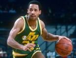 LANDOVER, MD - CIRCA 1983: Jerry Eaves #31 of the Utah Jazz dribbles the ball against the Washington Bullets during an NBA basketball game circa 1983 at the Capital Centre in Landover, Maryland. (Photo by Focus on Sport/Getty Images)